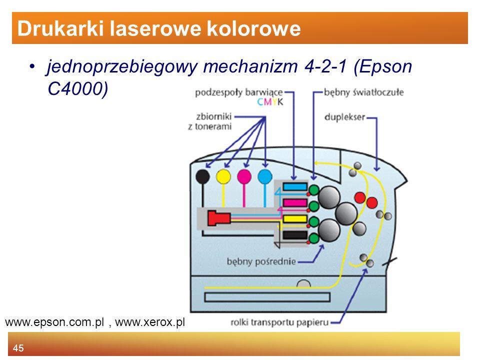 45 Drukarki laserowe kolorowe jednoprzebiegowy mechanizm 4-2-1 (Epson C4000) www.epson.com.pl, www.xerox.pl