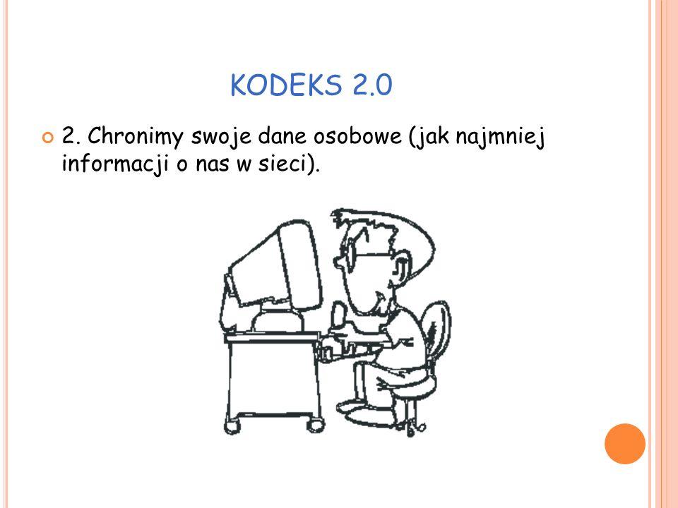 KODEKS 2.0 3. Nie zawieramy pochopnie znajomości w Internecie.