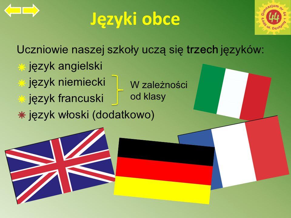Języki obce Uczniowie naszej szkoły uczą się trzech języków: język angielski język niemiecki język francuski język włoski (dodatkowo) W zależności od klasy