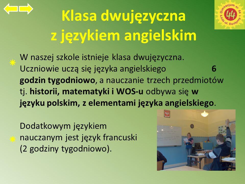 Klasa dwujęzyczna z językiem angielskim W naszej szkole istnieje klasa dwujęzyczna.