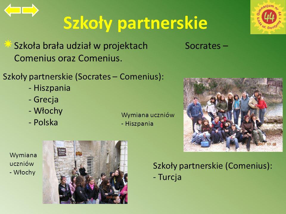 Szkoły partnerskie Szkoła brała udział w projektach Socrates – Comenius oraz Comenius.