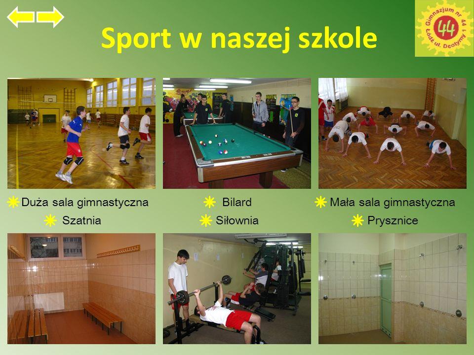 Sport w naszej szkole Duża sala gimnastycznaBilardMała sala gimnastyczna SzatniaSiłowniaPrysznice