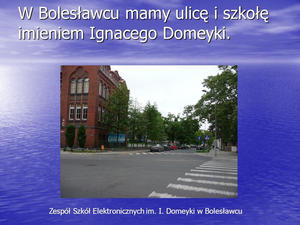 W Bolesławcu mamy ulicę i szkołę imieniem Ignacego Domeyki. Zespół Szkół Elektronicznych im. I. Domeyki w Bolesławcu