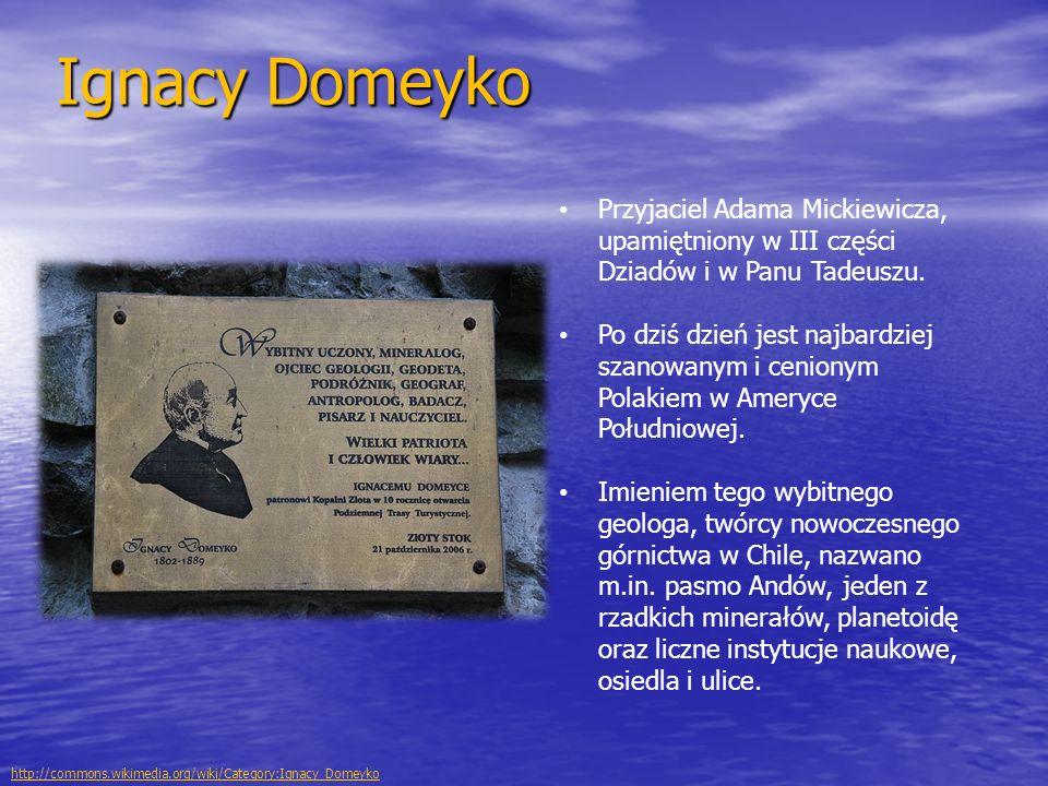 Ignacy Domeyko Przyjaciel Adama Mickiewicza, upamiętniony w III części Dziadów i w Panu Tadeuszu. Po dziś dzień jest najbardziej szanowanym i cenionym