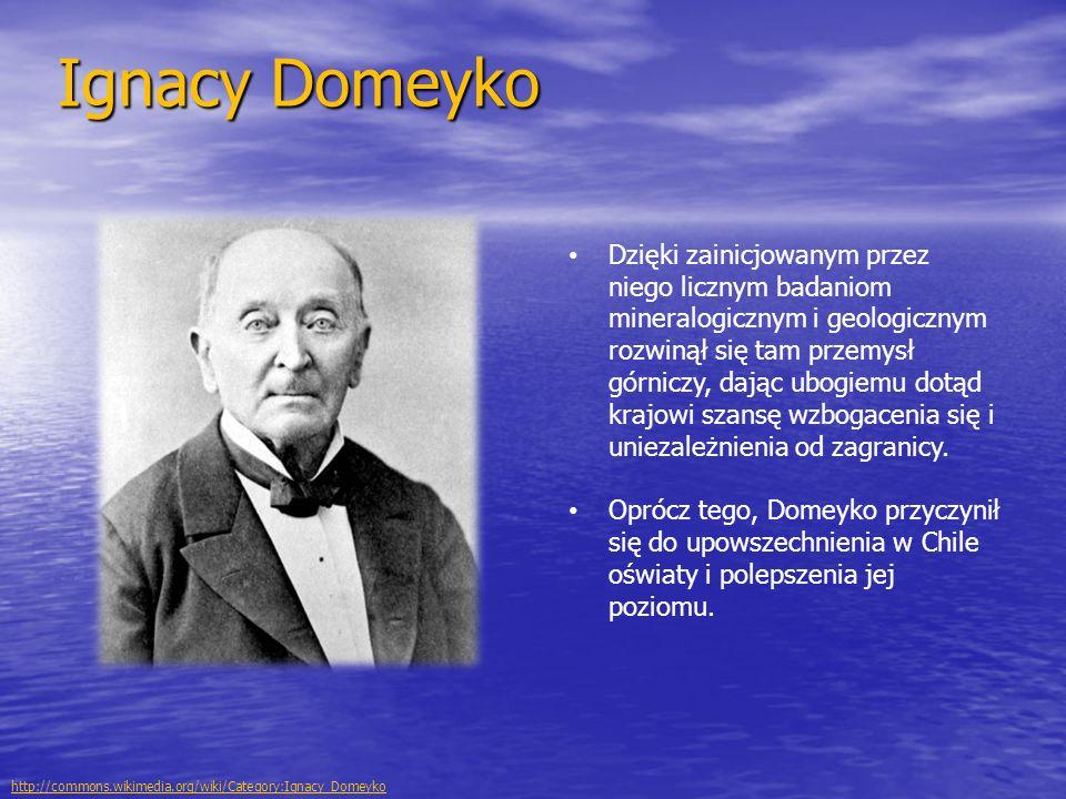 Ignacy Domeyko Dzięki zainicjowanym przez niego licznym badaniom mineralogicznym i geologicznym rozwinął się tam przemysł górniczy, dając ubogiemu dot