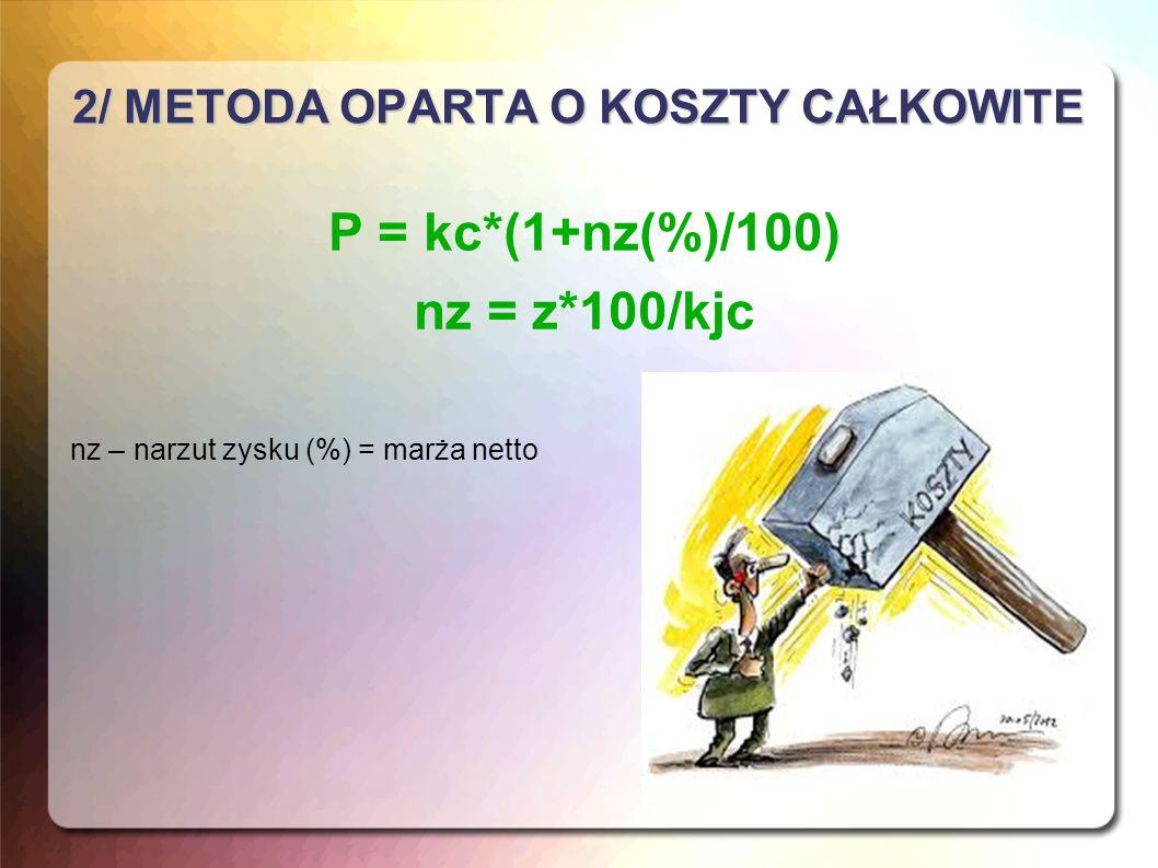 3/ METODA OPARTA O KOSZTY ZMIENNE P = kz*(1+np(%)/100) np = (z+ks)*100/kz np – narzut marży na pokrycie (%) kz – koszty zmienne ks – koszty stałe