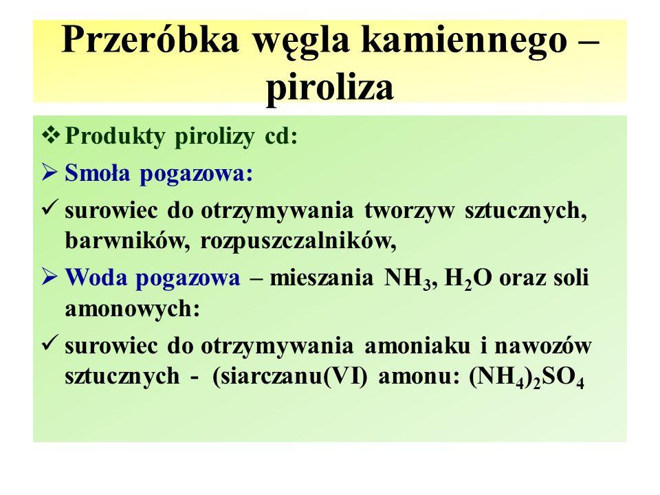 Przeróbka węgla kamiennego – piroliza  Produkty pirolizy cd:  Smoła pogazowa: surowiec do otrzymywania tworzyw sztucznych, barwników, rozpuszczalnik