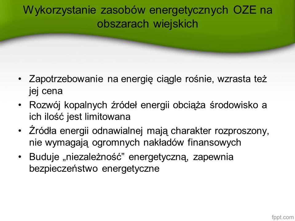 """Wykorzystanie zasobów energetycznych OZE na obszarach wiejskich Zapotrzebowanie na energię ciągle rośnie, wzrasta też jej cena Rozwój kopalnych źródeł energii obciąża środowisko a ich ilość jest limitowana Źródła energii odnawialnej mają charakter rozproszony, nie wymagają ogromnych nakładów finansowych Buduje """"niezależność energetyczną, zapewnia bezpieczeństwo energetyczne"""
