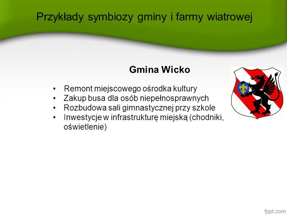 Przykłady symbiozy gminy i farmy wiatrowej Gmina Wicko Remont miejscowego ośrodka kultury Zakup busa dla osób niepełnosprawnych Rozbudowa sali gimnast