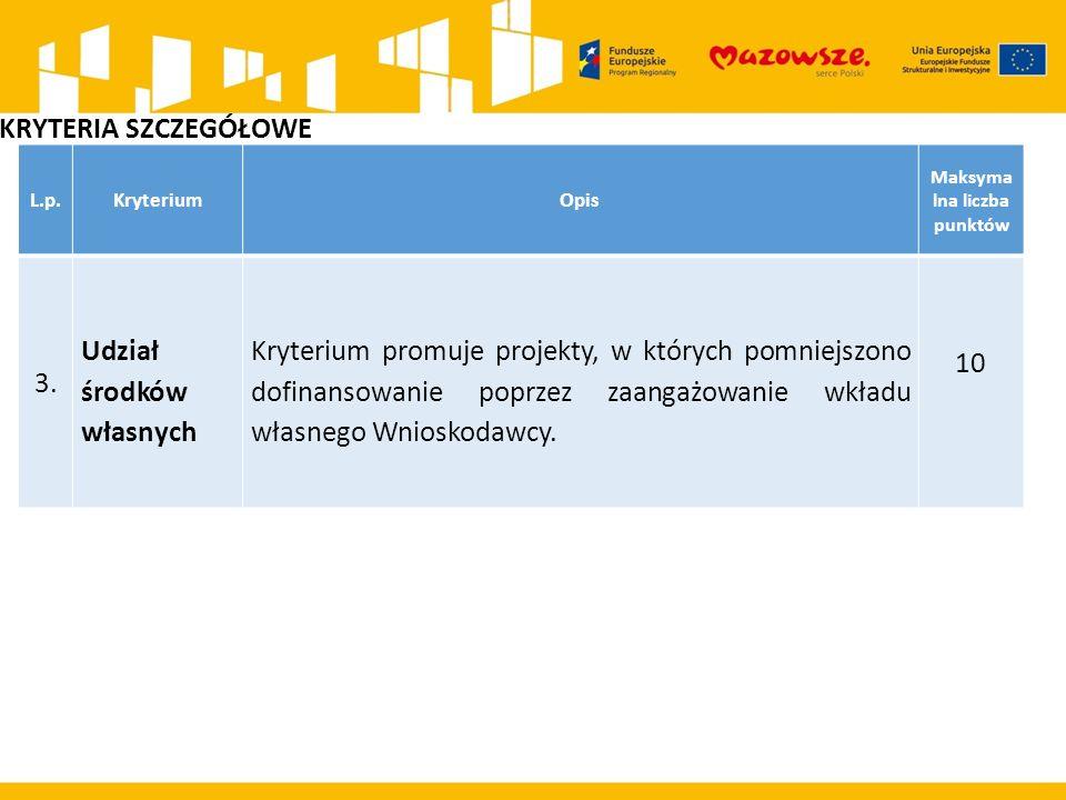 L.p.KryteriumOpis Maksyma lna liczba punktów 3.