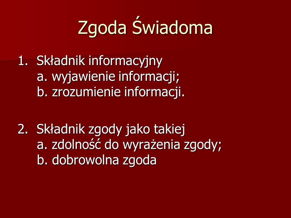 Zgoda Świadoma 1. Składnik informacyjny a. wyjawienie informacji; b.