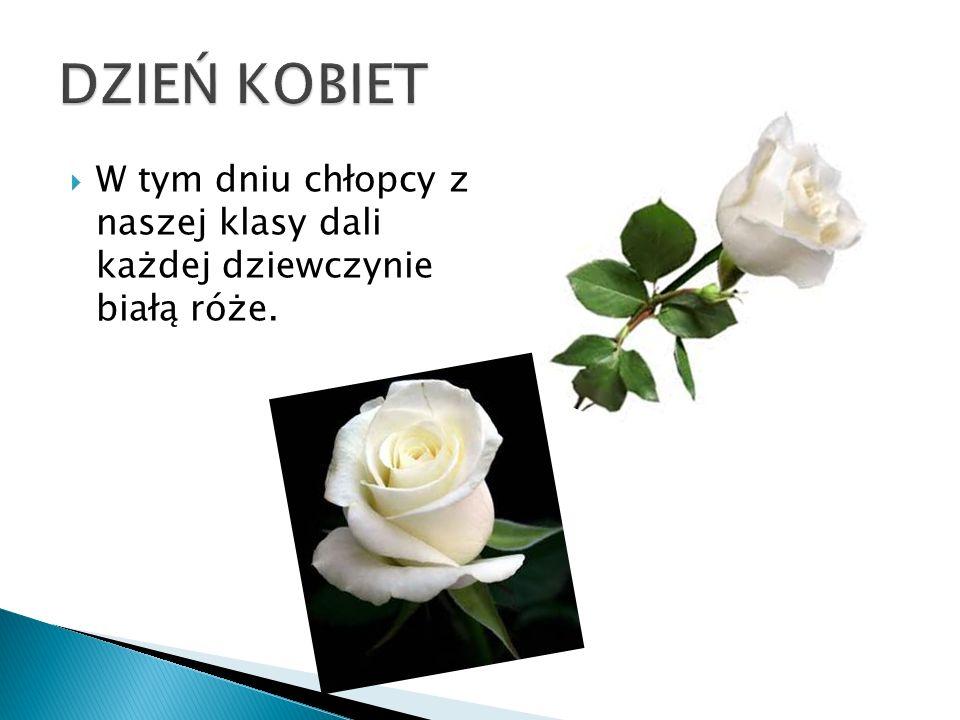  W tym dniu chłopcy z naszej klasy dali każdej dziewczynie białą róże.