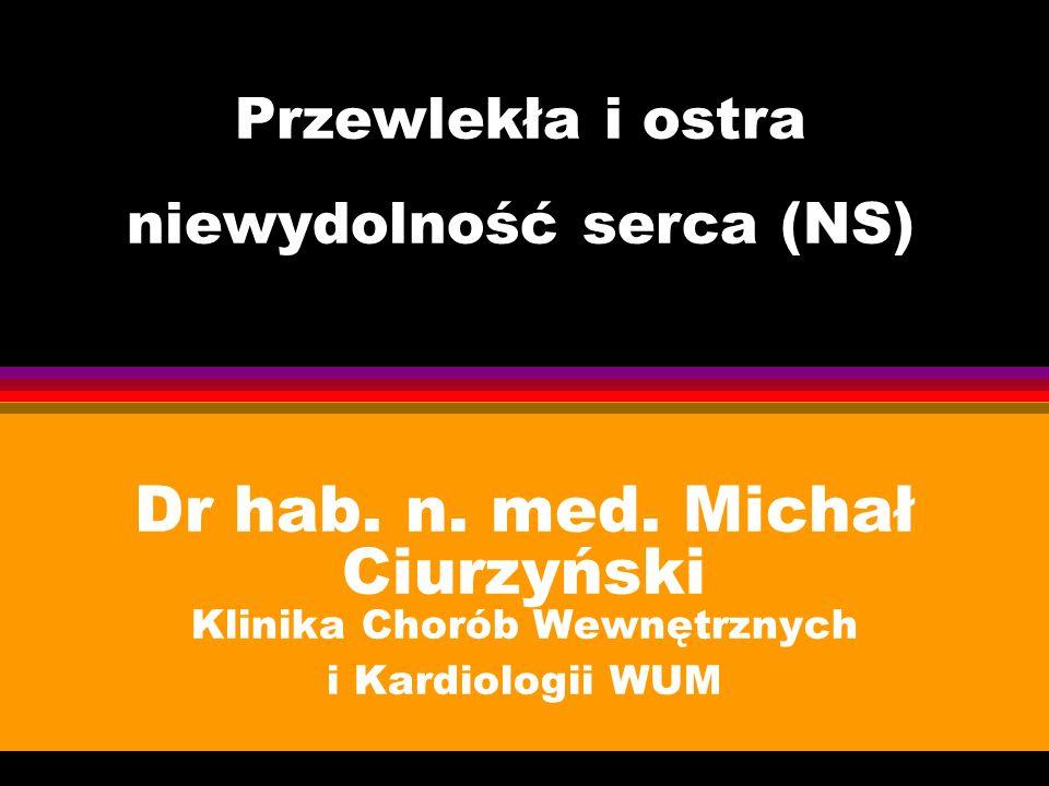 Przewlekła i ostra niewydolność serca (NS) Dr hab. n. med. Michał Ciurzyński Klinika Chorób Wewnętrznych i Kardiologii WUM