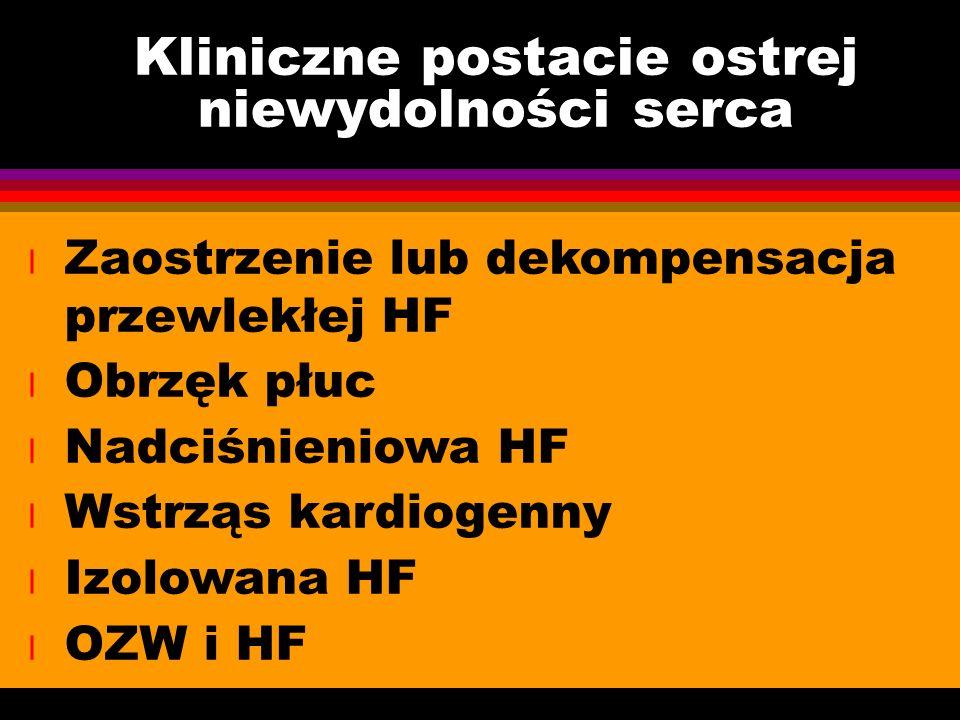 Kliniczne postacie ostrej niewydolności serca l Zaostrzenie lub dekompensacja przewlekłej HF l Obrzęk płuc l Nadciśnieniowa HF l Wstrząs kardiogenny l