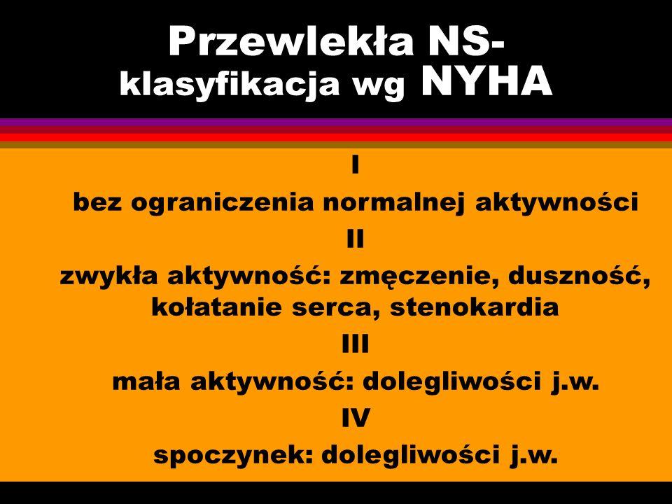 Przewlekła NS- klasyfikacja wg NYHA I bez ograniczenia normalnej aktywności II zwykła aktywność: zmęczenie, duszność, kołatanie serca, stenokardia III mała aktywność: dolegliwości j.w.