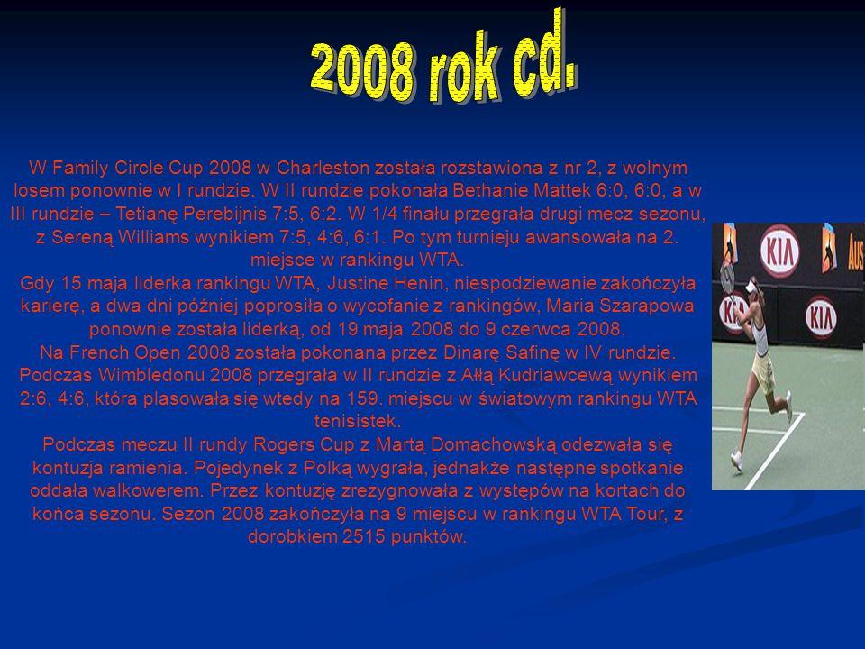 W Family Circle Cup 2008 w Charleston została rozstawiona z nr 2, z wolnym losem ponownie w I rundzie.