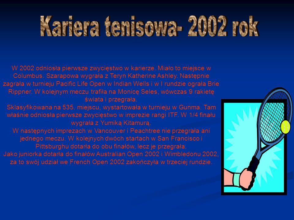 W 2002 odniosła pierwsze zwycięstwo w karierze. Miało to miejsce w Columbus.