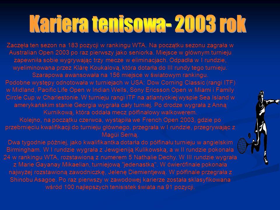Pierwszy wygrany turniej WTA Maria Szarapowa – Anikó Kapros 2:6, 6:2, 7:5 Tokio, 5 października 20035 października 2003 Zaczęła ten sezon na 183 pozycji w rankingu WTA.
