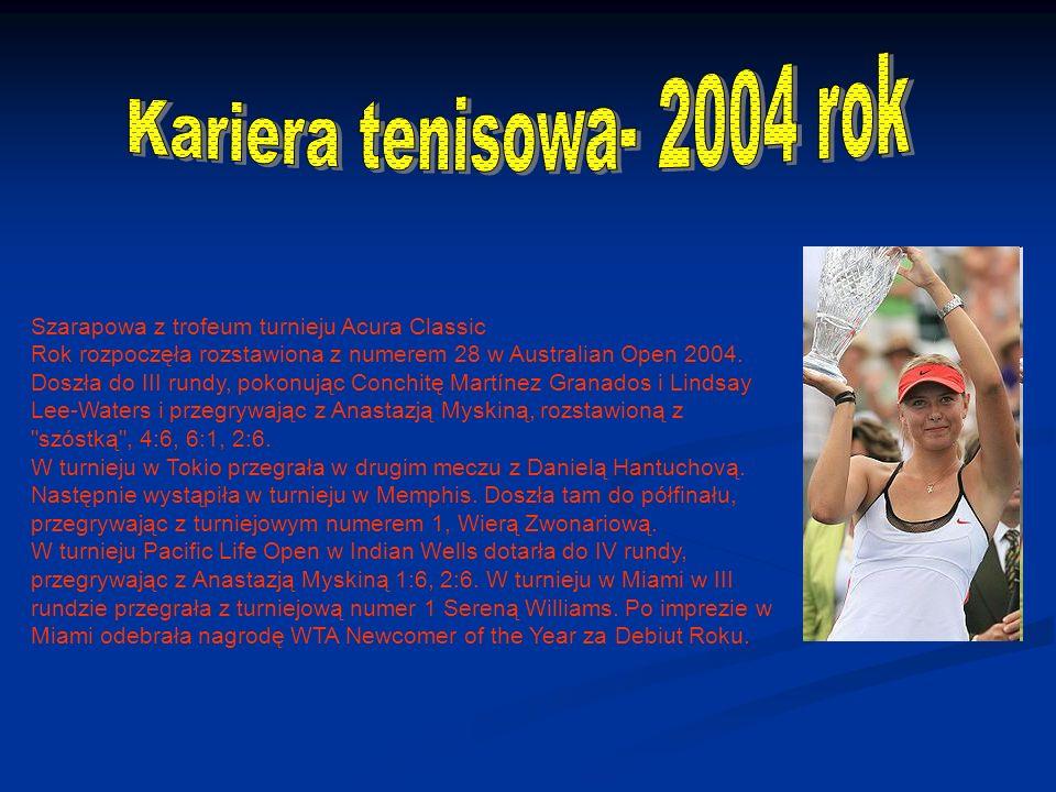 Szarapowa z trofeum turnieju Acura Classic Rok rozpoczęła rozstawiona z numerem 28 w Australian Open 2004.