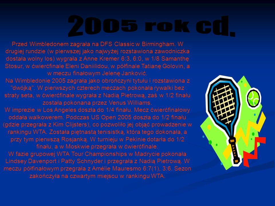 Przed Wimbledonem zagrała na DFS Classic w Birmingham.