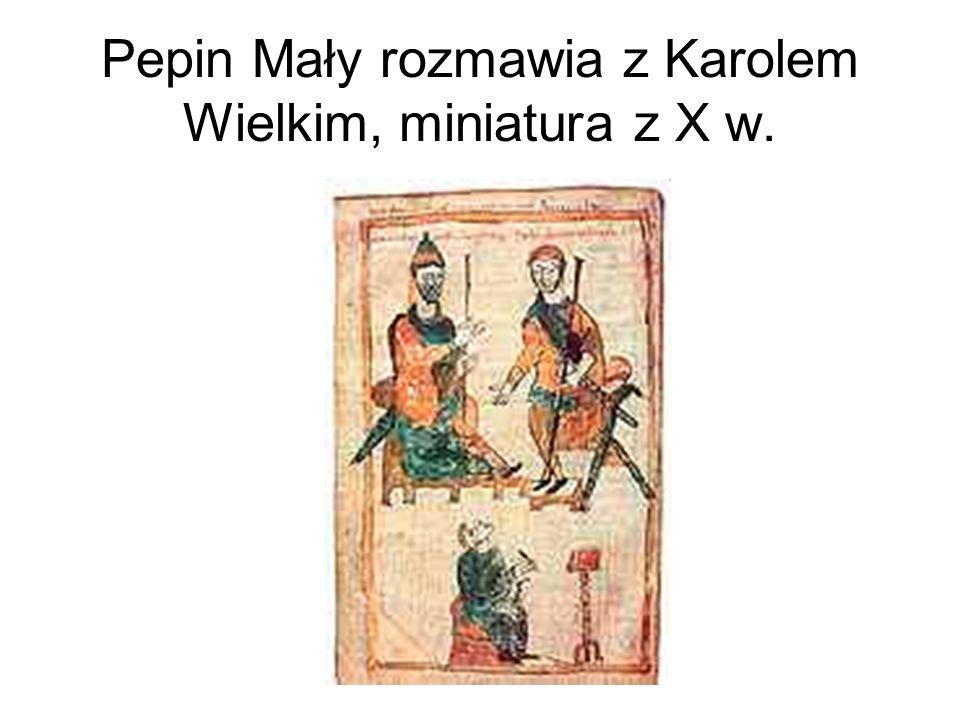 Pepin Mały rozmawia z Karolem Wielkim, miniatura z X w.
