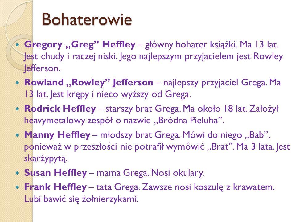 """Bohaterowie Gregory """"Greg Heffley – główny bohater książki."""