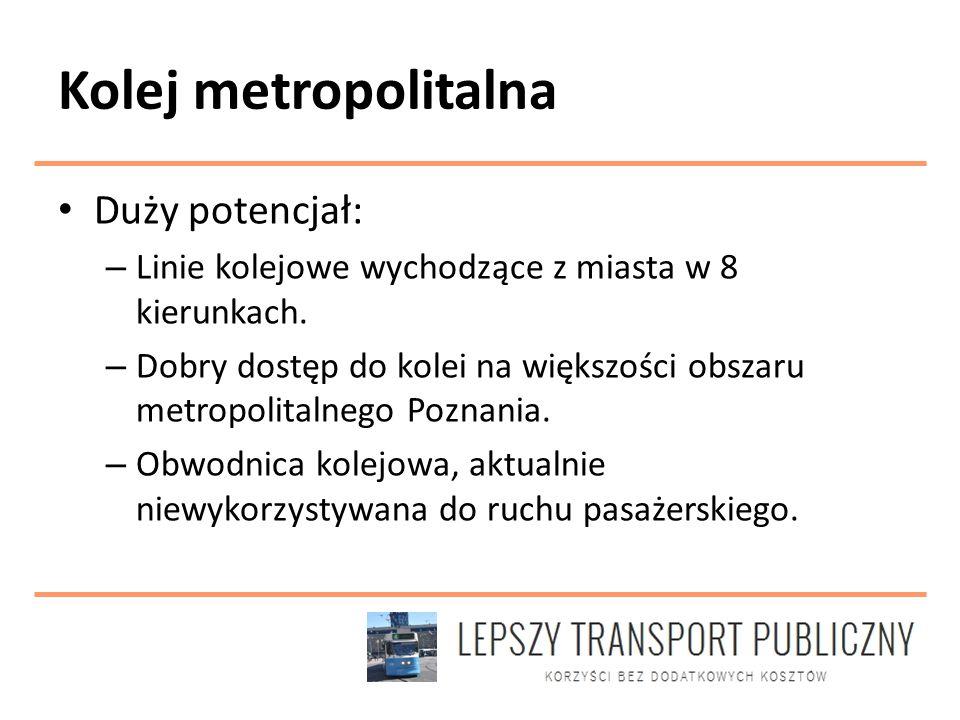 Kolej metropolitalna Duży potencjał: – Linie kolejowe wychodzące z miasta w 8 kierunkach.