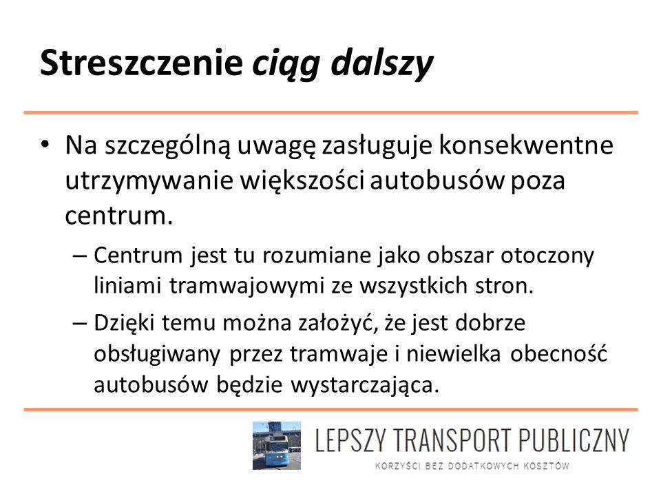 Streszczenie ciąg dalszy Na szczególną uwagę zasługuje konsekwentne utrzymywanie większości autobusów poza centrum.