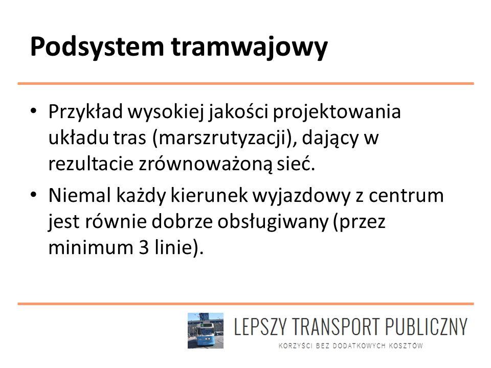 Podsystem tramwajowy Przykład wysokiej jakości projektowania układu tras (marszrutyzacji), dający w rezultacie zrównoważoną sieć.