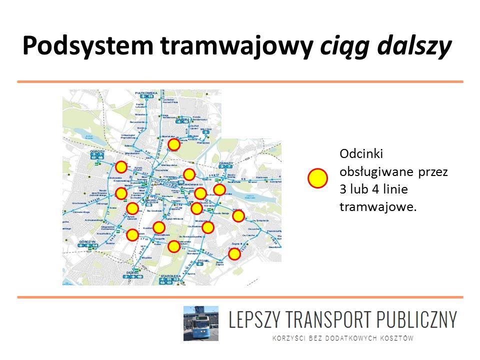 Odcinki obsługiwane przez 3 lub 4 linie tramwajowe.