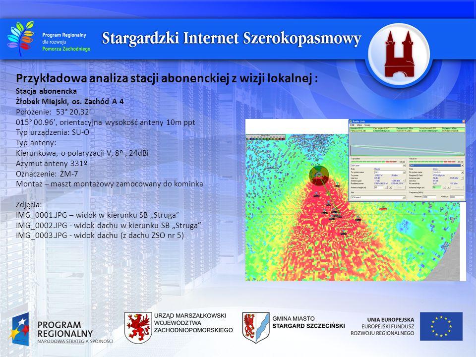 Przykładowa analiza stacji abonenckiej z wizji lokalnej : Stacja abonencka Żłobek Miejski, os. Zachód A 4 Położenie: 53° 20.32' 015° 00.96', orientacy