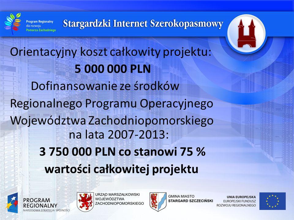 Orientacyjny koszt całkowity projektu: 5 000 000 PLN Dofinansowanie ze środków Regionalnego Programu Operacyjnego Województwa Zachodniopomorskiego na lata 2007-2013: 3 750 000 PLN co stanowi 75 % wartości całkowitej projektu