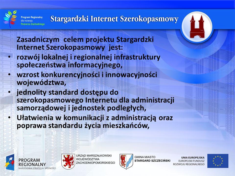 Zasadniczym celem projektu Stargardzki Internet Szerokopasmowy jest: rozwój lokalnej i regionalnej infrastruktury społeczeństwa informacyjnego, wzrost