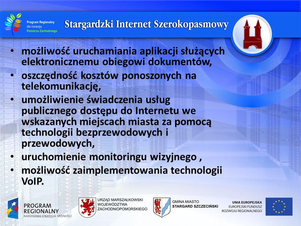 możliwość uruchamiania aplikacji służących elektronicznemu obiegowi dokumentów, oszczędność kosztów ponoszonych na telekomunikację, umożliwienie świad