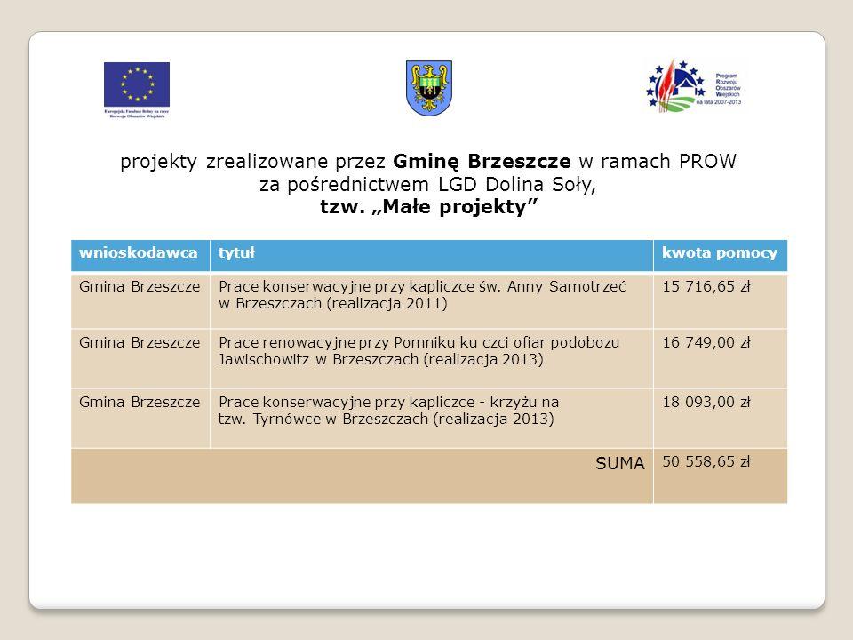 wnioskodawcatytułkwota pomocy Gmina BrzeszczePrace konserwacyjne przy kapliczce św. Anny Samotrzeć w Brzeszczach (realizacja 2011) 15 716,65 zł Gmina