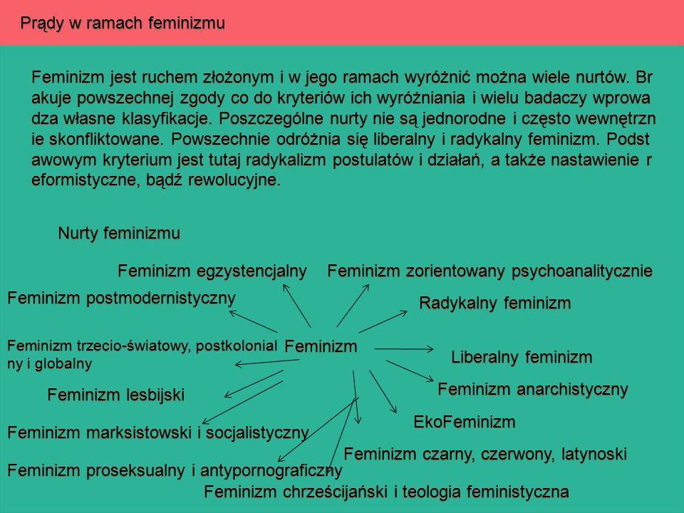 Prądy w ramach feminizmu Feminizm jest ruchem złożonym i w jego ramach wyróżnić można wiele nurtów. Br akuje powszechnej zgody co do kryteriów ich wyr