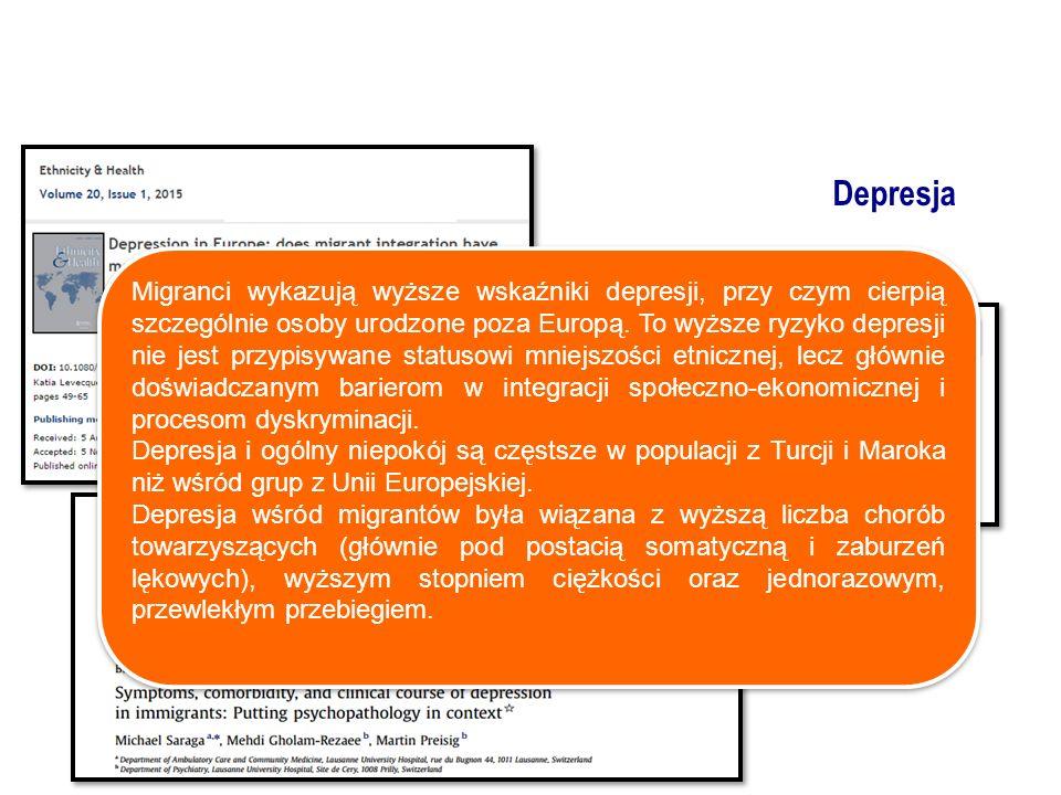 Migranci wykazują wyższe wskaźniki depresji, przy czym cierpią szczególnie osoby urodzone poza Europą.