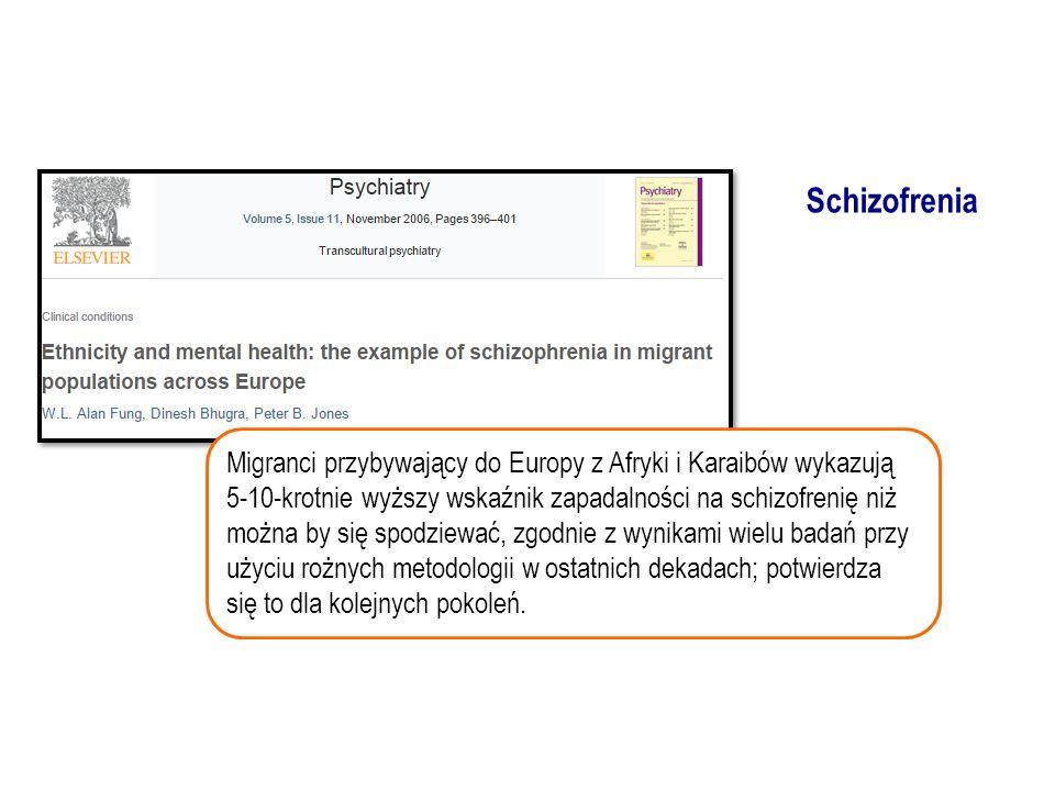 Migranci przybywający do Europy z Afryki i Karaibów wykazują 5-10-krotnie wyższy wskaźnik zapadalności na schizofrenię niż można by się spodziewać, zgodnie z wynikami wielu badań przy użyciu rożnych metodologii w ostatnich dekadach; potwierdza się to dla kolejnych pokoleń.