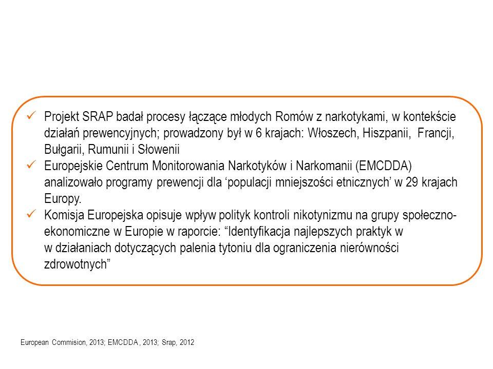 Projekt SRAP badał procesy łączące młodych Romów z narkotykami, w kontekście działań prewencyjnych; prowadzony był w 6 krajach: Włoszech, Hiszpanii, Francji, Bułgarii, Rumunii i Słowenii Europejskie Centrum Monitorowania Narkotyków i Narkomanii (EMCDDA) analizowało programy prewencji dla 'populacji mniejszości etnicznych' w 29 krajach Europy.
