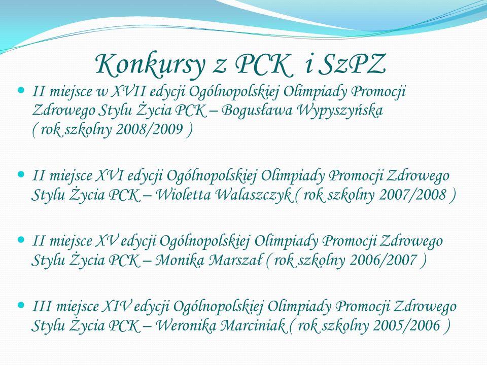 Konkursy z PCK i SzPZ II miejsce w XVII edycji Ogólnopolskiej Olimpiady Promocji Zdrowego Stylu Życia PCK – Bogusława Wypyszyńska ( rok szkolny 2008/2