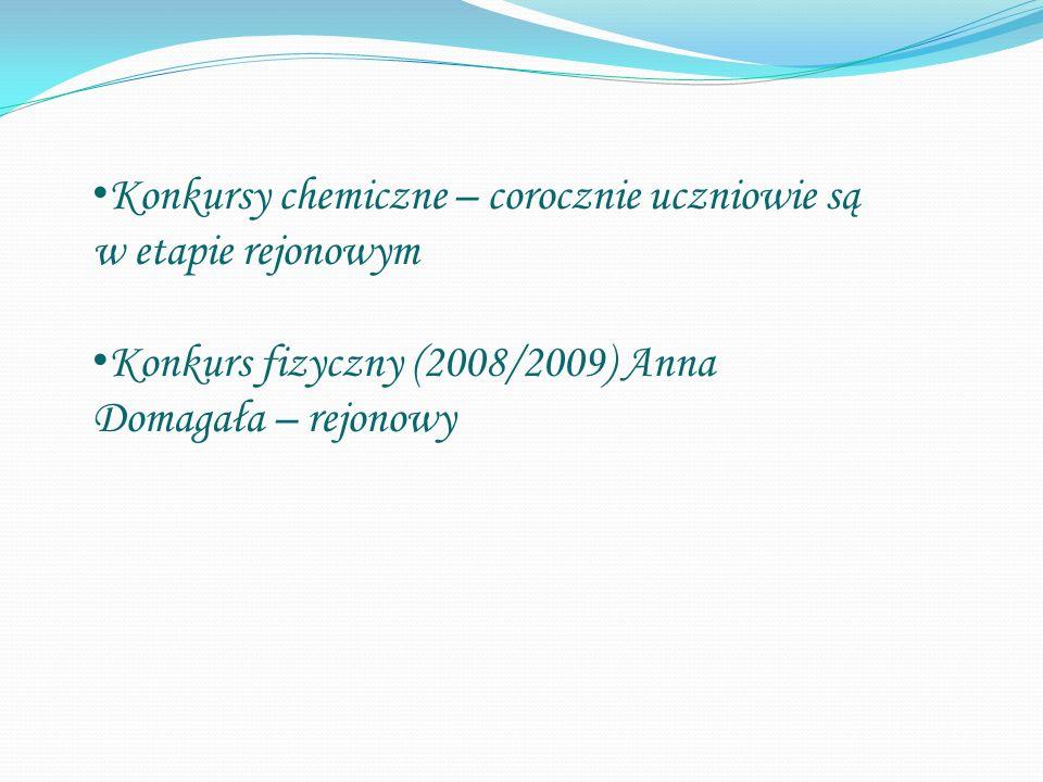 Konkursy chemiczne – corocznie uczniowie są w etapie rejonowym Konkurs fizyczny (2008/2009) Anna Domagała – rejonowy