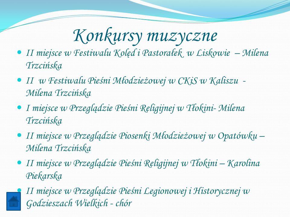 Konkursy muzyczne II miejsce w Festiwalu Kolęd i Pastorałek w Liskowie – Milena Trzcińska II w Festiwalu Pieśni Młodzieżowej w CKiS w Kaliszu - Milena