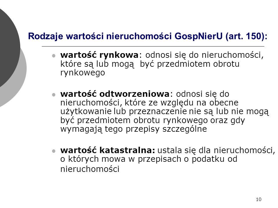 10 Rodzaje wartości nieruchomości GospNierU (art.