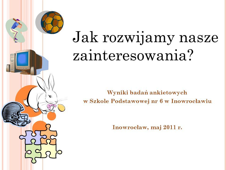 Wyniki badań ankietowych w Szkole Podstawowej nr 6 w Inowrocławiu Inowrocław, maj 2011 r. Jak rozwijamy nasze zainteresowania?