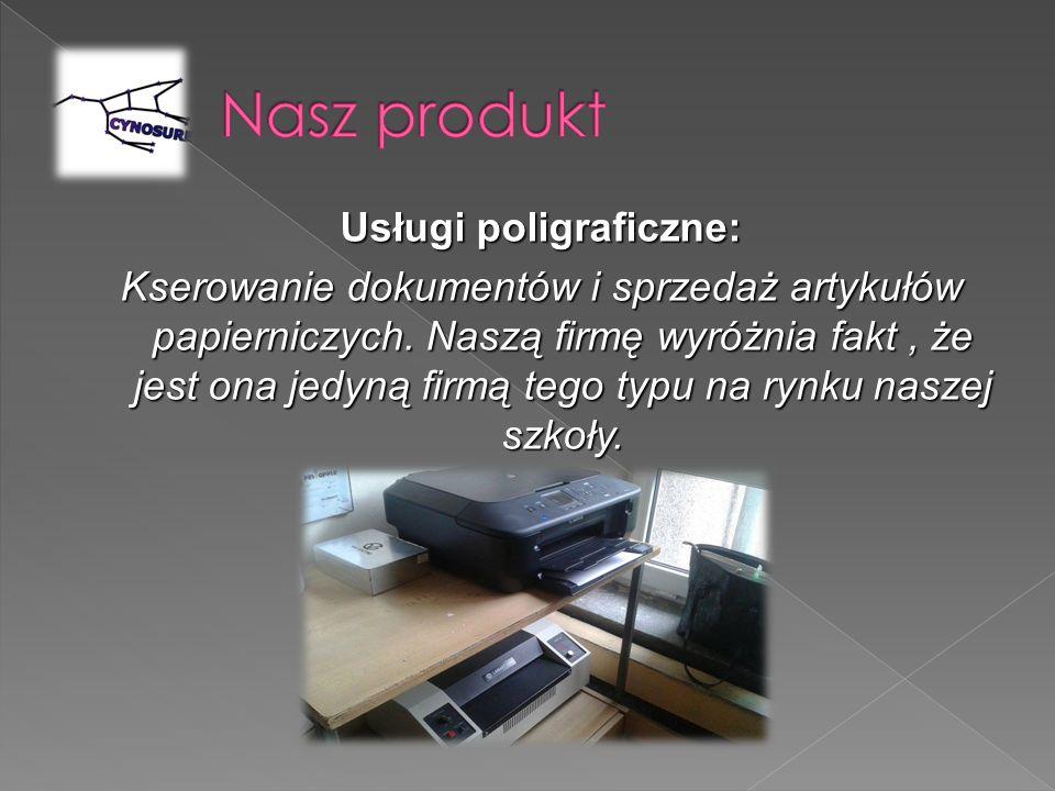 Usługi poligraficzne: Kserowanie dokumentów i sprzedaż artykułów papierniczych. Naszą firmę wyróżnia fakt, że jest ona jedyną firmą tego typu na rynku