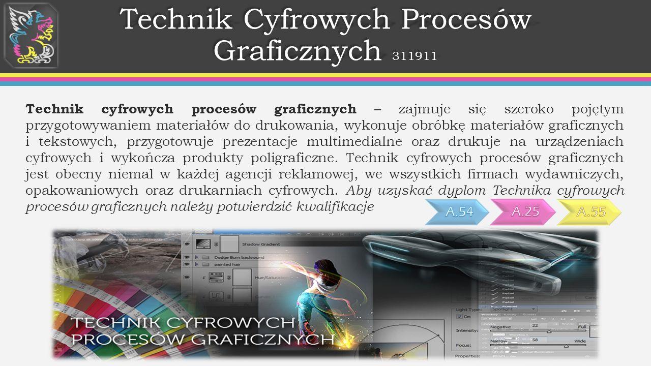 Technik Cyfrowych Procesów Graficznych 311911 Technik cyfrowych procesów graficznych – zajmuje się szeroko pojętym przygotowywaniem materiałów do drukowania, wykonuje obróbkę materiałów graficznych i tekstowych, przygotowuje prezentacje multimedialne oraz drukuje na urządzeniach cyfrowych i wykończa produkty poligraficzne.