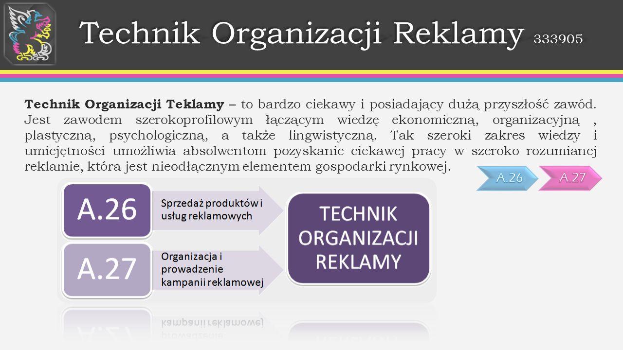 Technik Organizacji Reklamy 333905 Technik Organizacji Teklamy – to bardzo ciekawy i posiadający dużą przyszłość zawód. Jest zawodem szerokoprofilowym