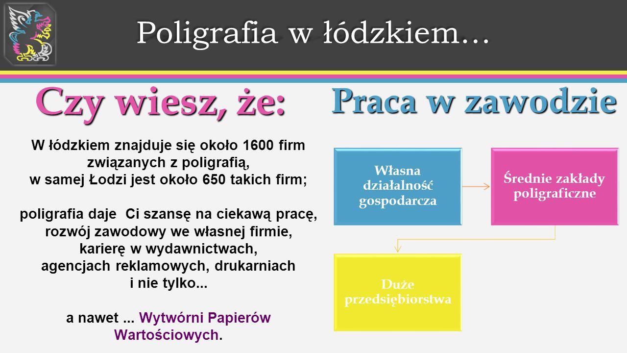 Poligrafia w łódzkiem… Czy wiesz, że: W łódzkiem znajduje się około 1600 firm związanych z poligrafią, w samej Łodzi jest około 650 takich firm; poligrafia daje Ci szansę na ciekawą pracę, rozwój zawodowy we własnej firmie, karierę w wydawnictwach, agencjach reklamowych, drukarniach i nie tylko...