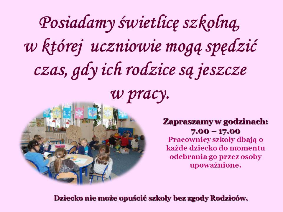 Zapraszamy w godzinach: 7.00 – 17.00 Pracownicy szkoły dbają o każde dziecko do momentu odebrania go przez osoby upoważnione.