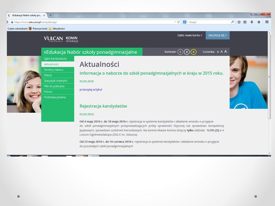 Na stronie www.konin.edu.com.pl uczeń może zalogować się po otrzymaniu loginu i hasła Etapy pracy ucznia: 1.Sprawdzenie poprawności danych.